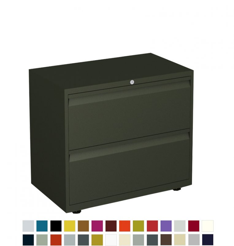 Black filing cabinet with 2 drawers