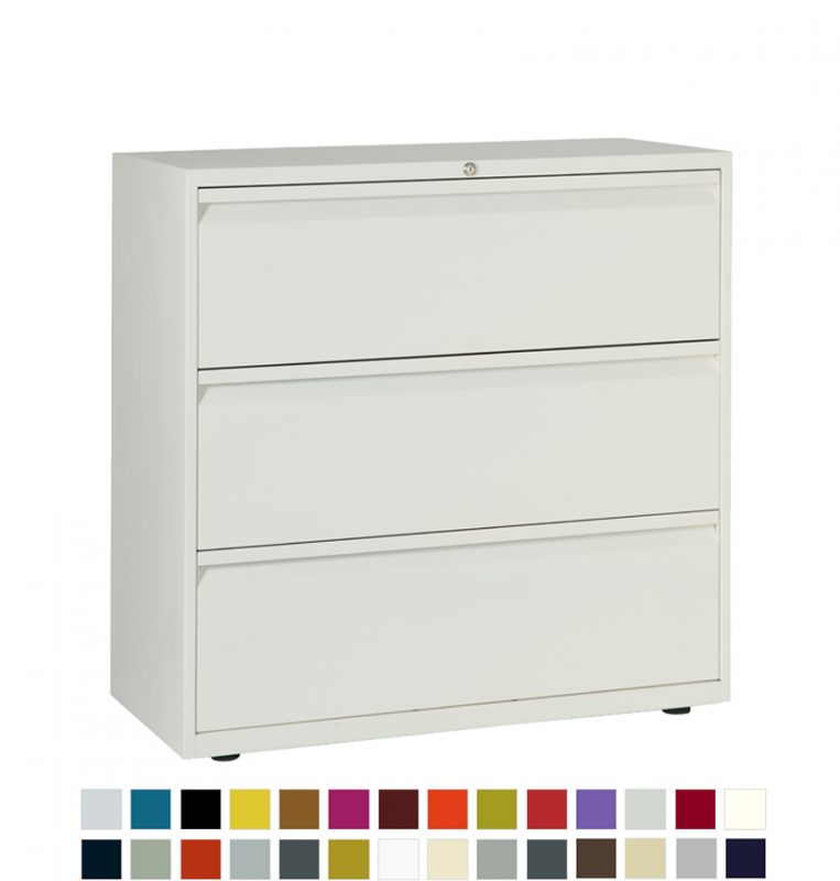 White filing cabinet with 3 drawers