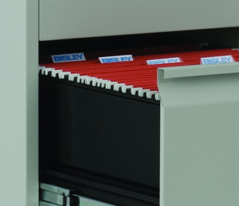 Close up of open filing cabinet drawer