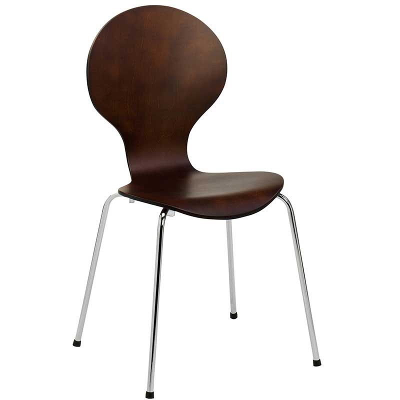 Wooden cafe chair with chrome legs