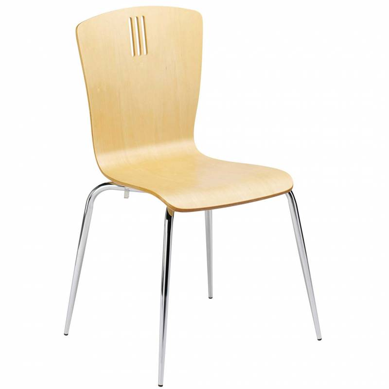 Pale wooden stackable cafe chair