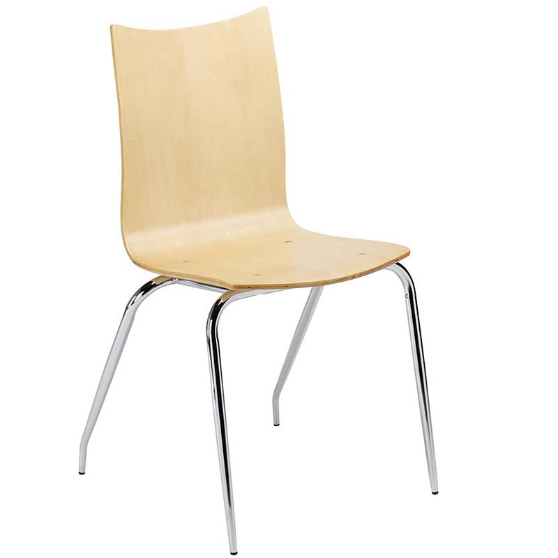 Pale wooden cafe chair with chrome legs
