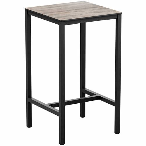 Tall square bar table with wooden top and black legs
