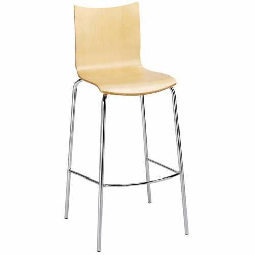Pale wooden bar stool with chrome legs