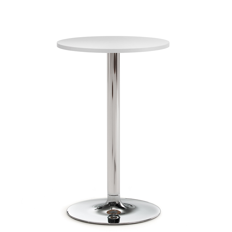 High white bistro table with chrome legs