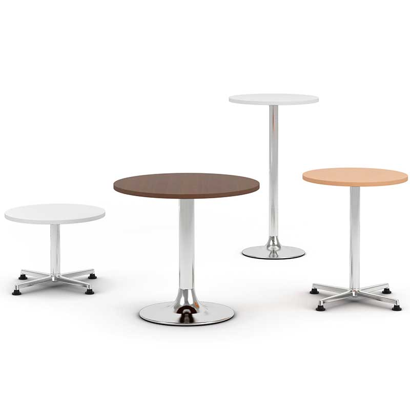 Four bistro tables in different finishes and heights