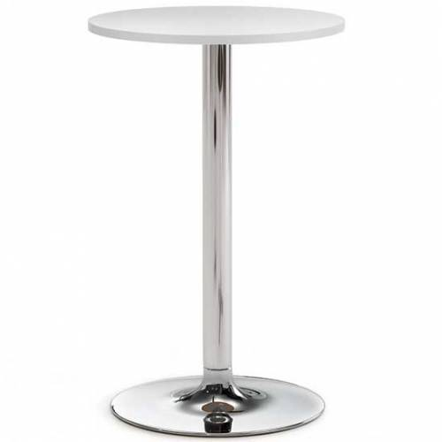 High meeting table with white top and chrome base