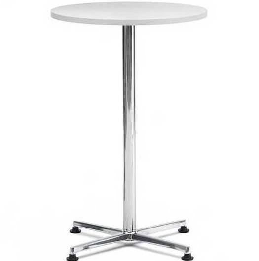 HIgh meeting table with white top and chrome 4 star base