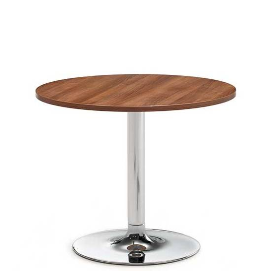 Circular wooden coffee table with chrome base