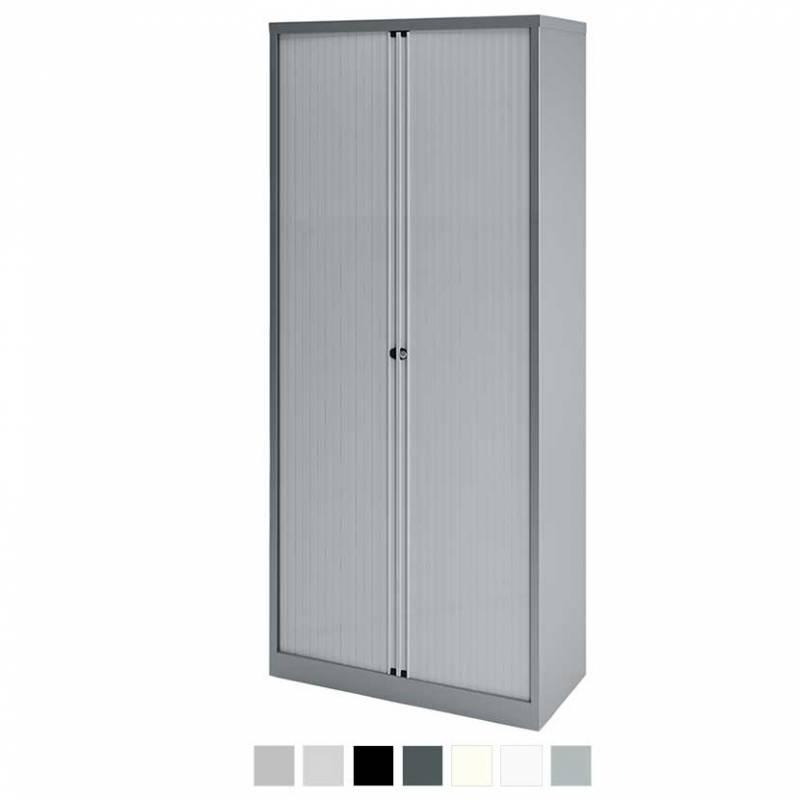 Tall grey storage cabinet