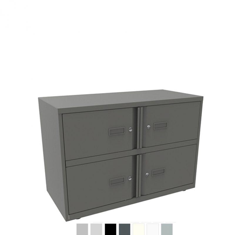 Dark grey storage unit with 4 sections