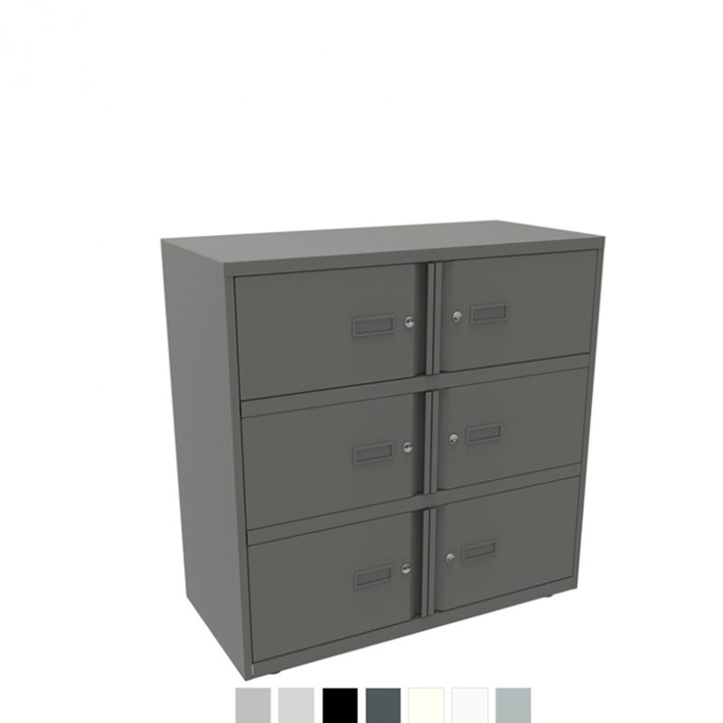 Dark grey storage unit with 6 doors