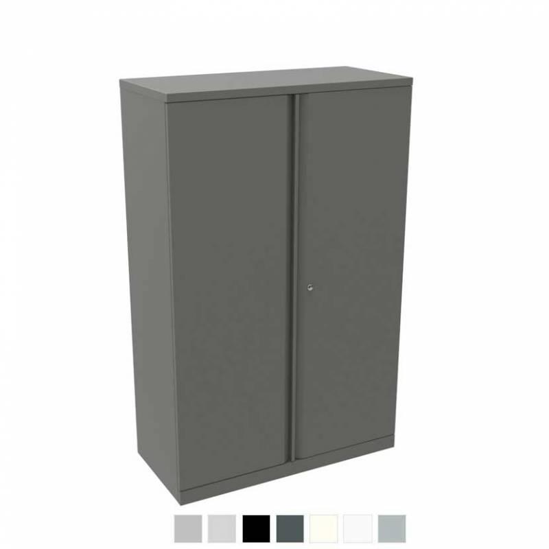 Tall grey storage cupboard