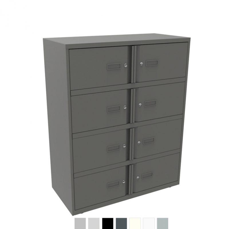 Dark grey storage unit with 8 doors