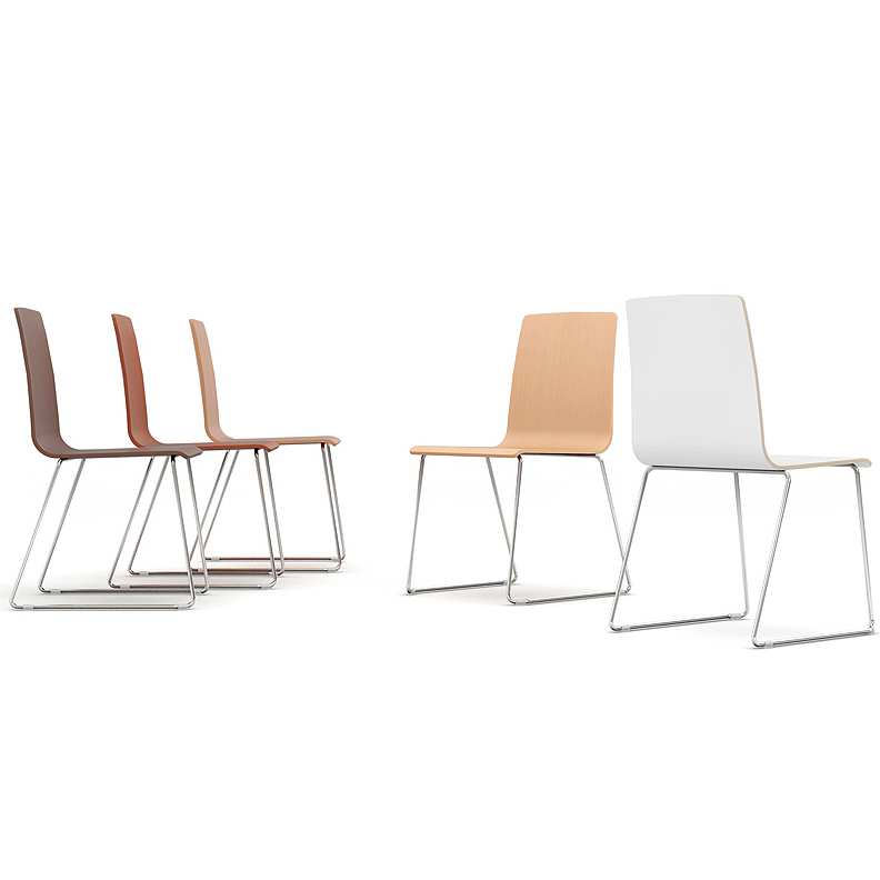 Five wooden bistro chairs