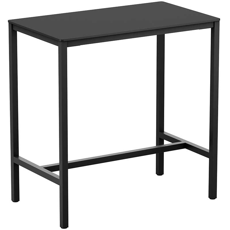 Rectangular bar table with black top and legs