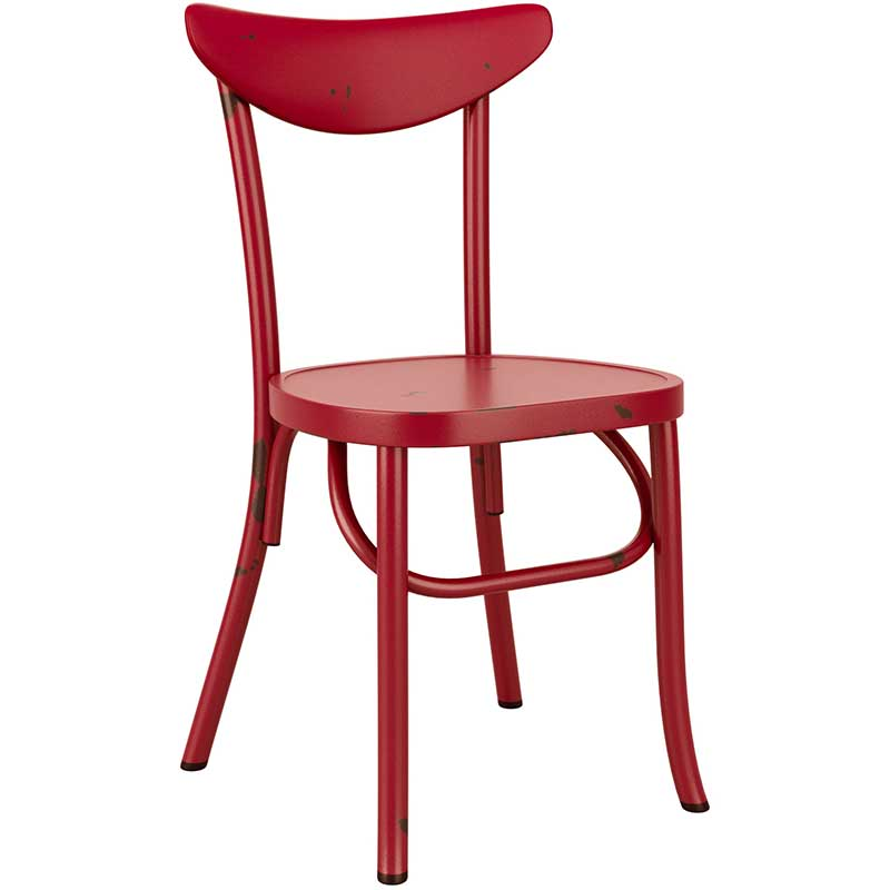 Red vintage cafe chair with distressed feel