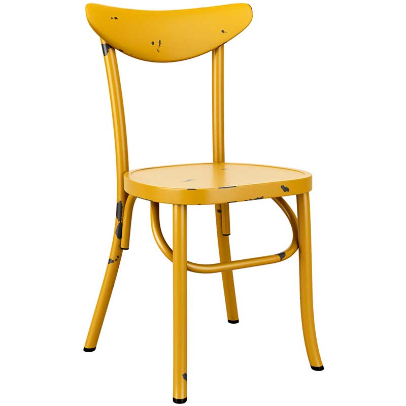 Yellow vintage cafe chair with distressed feel
