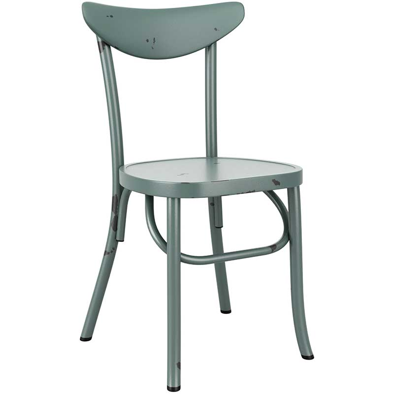 Blue vintage cafe chair with distressed feel