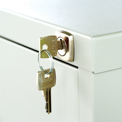 Close-up of key in drawer lock