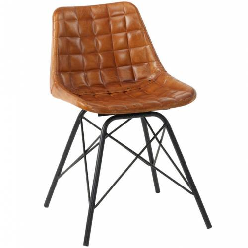 Brown side chair with square pattern effect