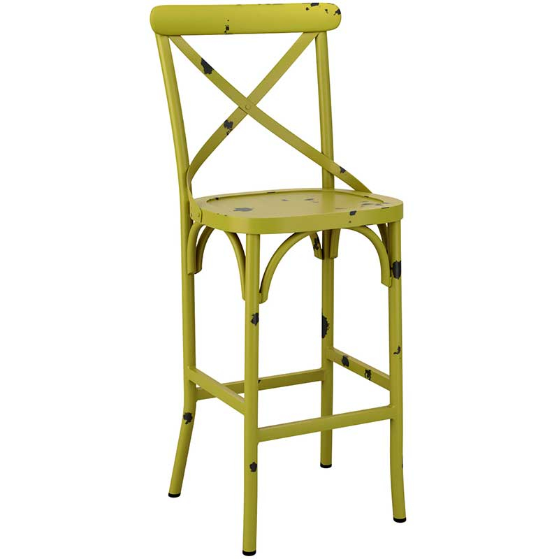 Green cafe bar stool with distressed effect