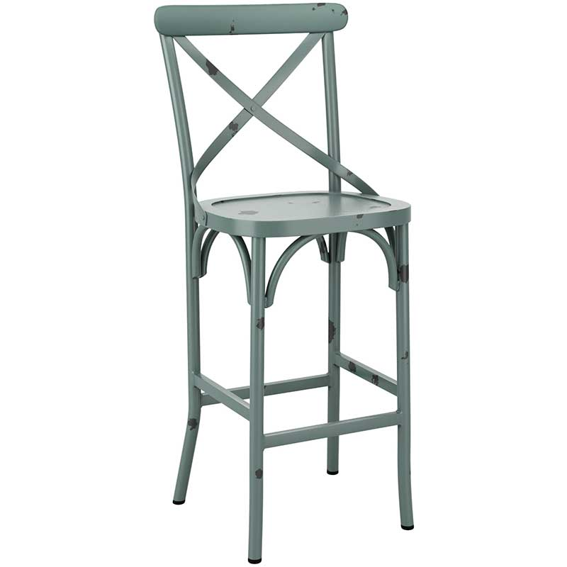 Light blue cafe bar stool with distressed effect