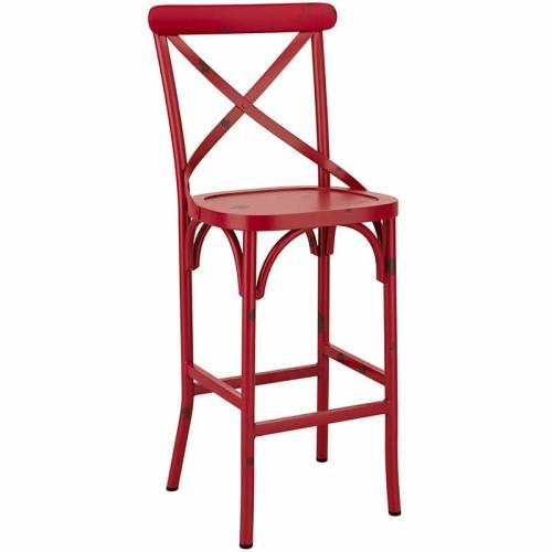 Red cafe bar stool with distressed effect