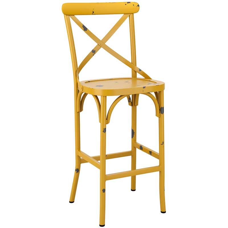 Yellow cafe bar stool with distressed effect