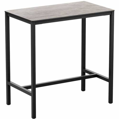 Rectangular bar table with cement-coloured top and black legs