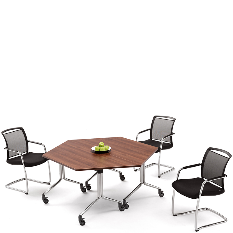 Trapezium portable meeting tables with 3 black chairs