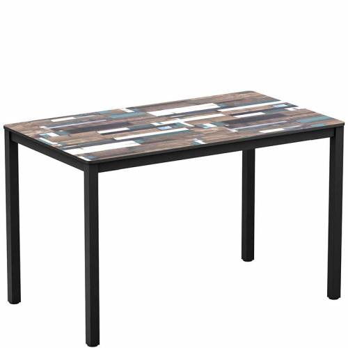 Rectangular table with black legs and driftwood effect top