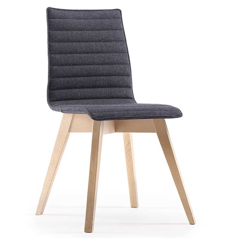 Grey ribbed fabric chair with wooden legs
