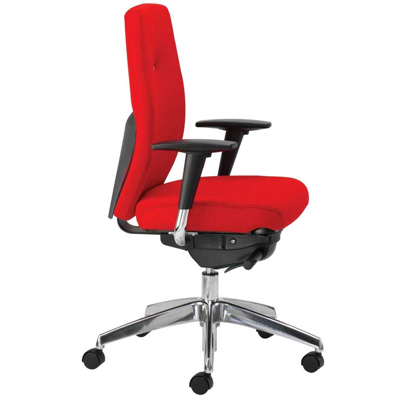 Desk chair with red seat and high back, black arms and chrome base