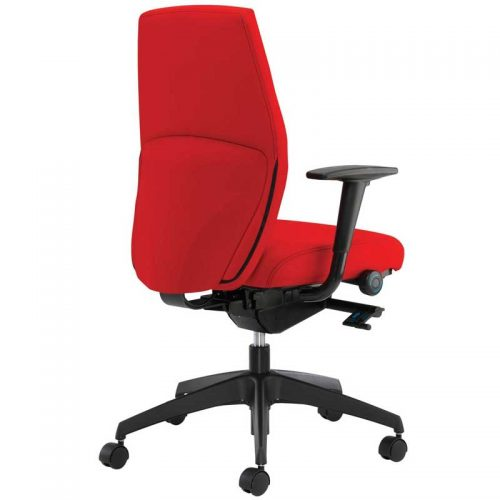 Desk chair with red seat and high back, black arms and black base