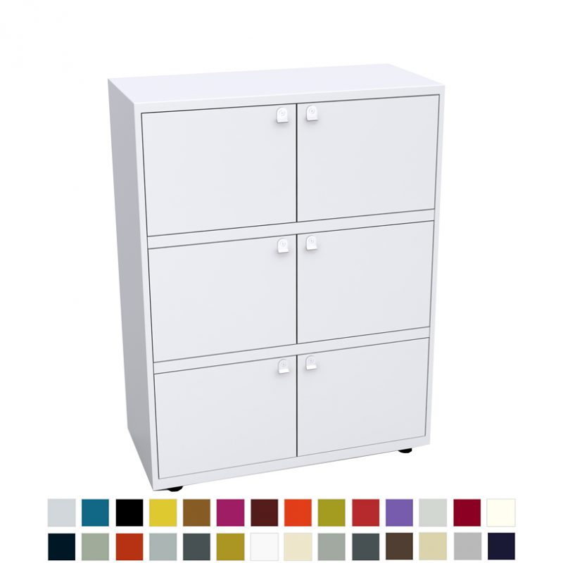 White storage unit with 6 doors