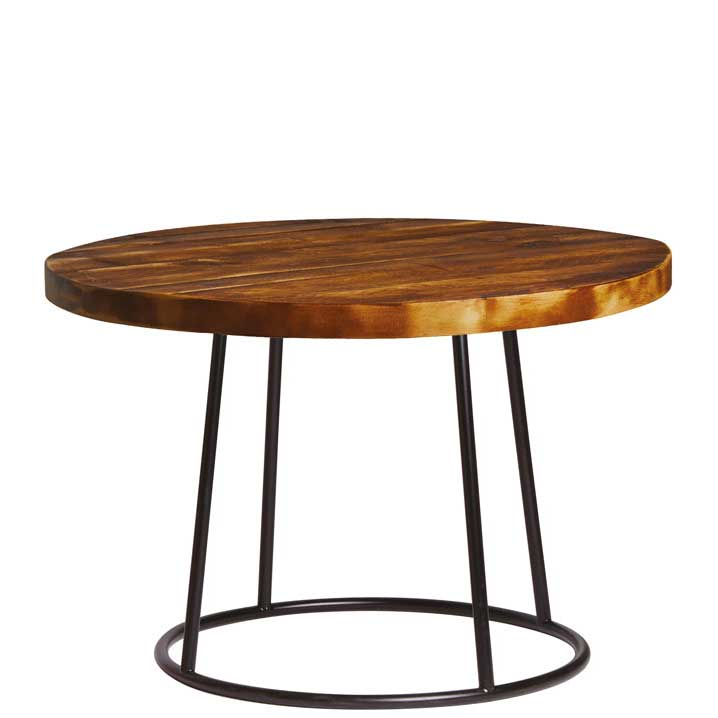 Round coffee table with dark wooden top and black legs