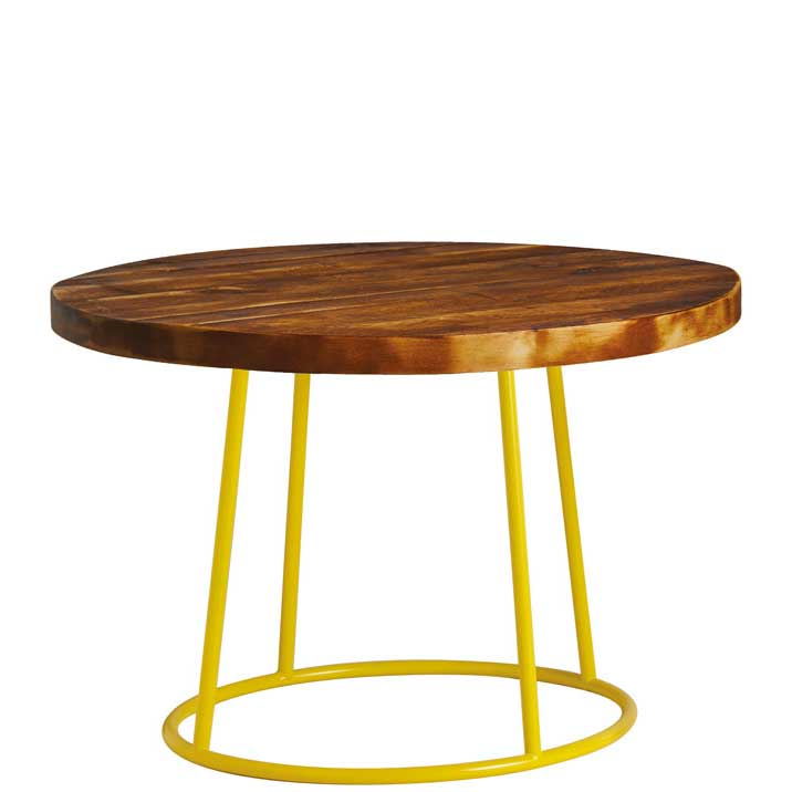 Round coffee table with dark wooden top and yellow legs