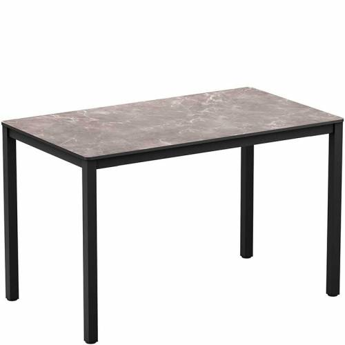 Rectangular bar table with marble-effect top and black legs