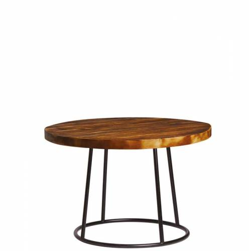 Rustic round coffee table with dark wooden top and black legs