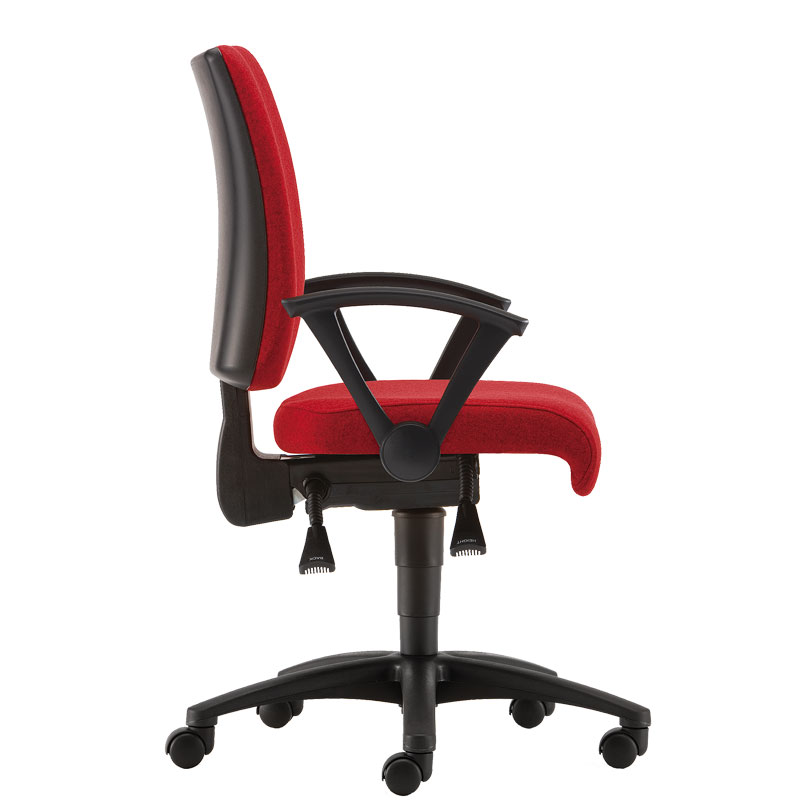 Red padded office chair with black base and arms