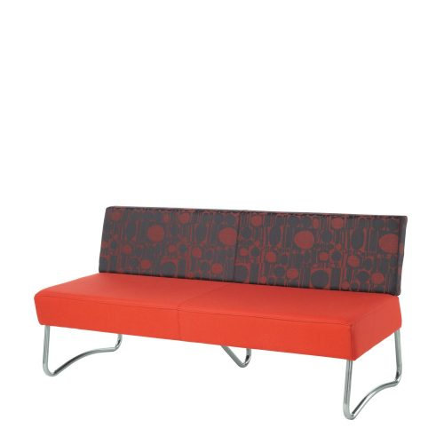 Sofa with red seat and patterned red and grey back