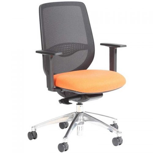 Desk chair with orange seat, black mesh back and chrome base