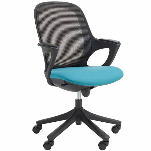 Swivel chair with turquoise seat and black mesh back
