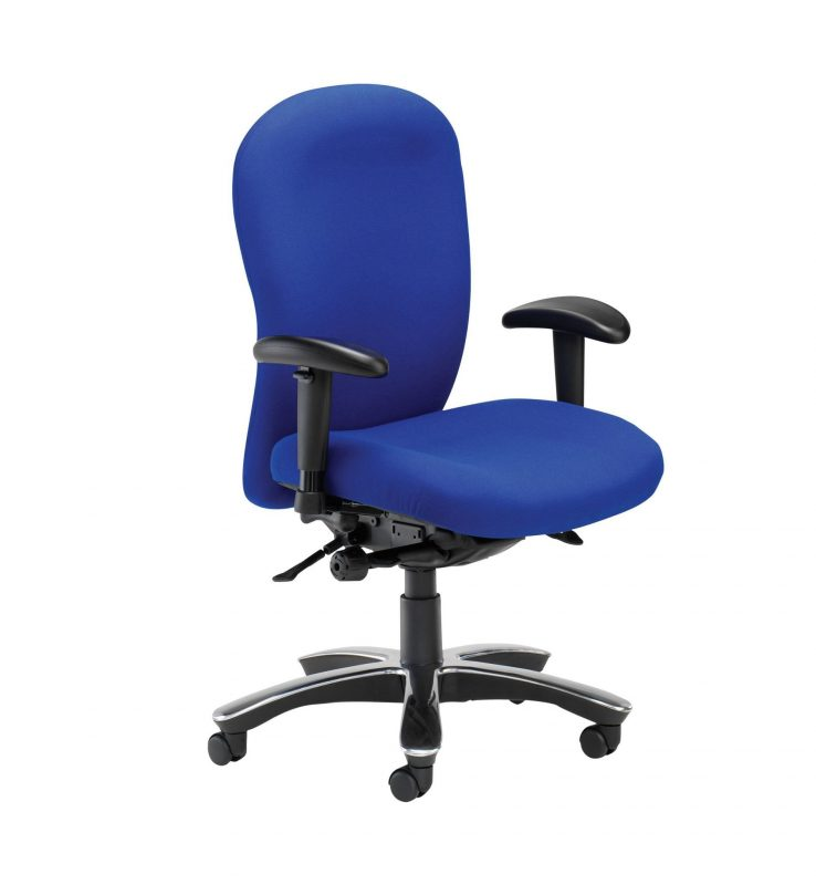 Blue Posturemax chair with arms