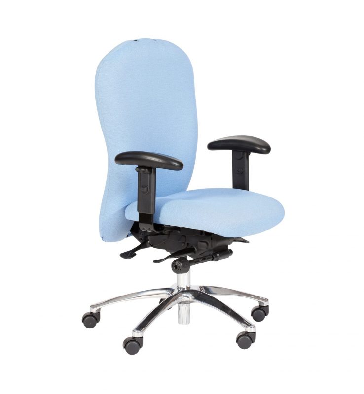 Pale blue Posturemax chair with arms