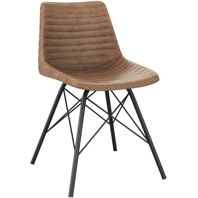 Bistro style chair with brown ribbed effect on seat and back, and black legs