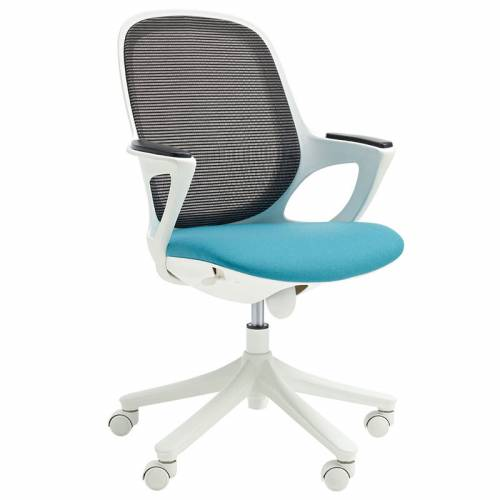 Office chair with turquoise seat, black mesh back and white arms