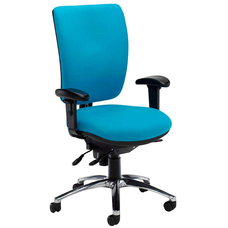 Light blue desk chair with black arms