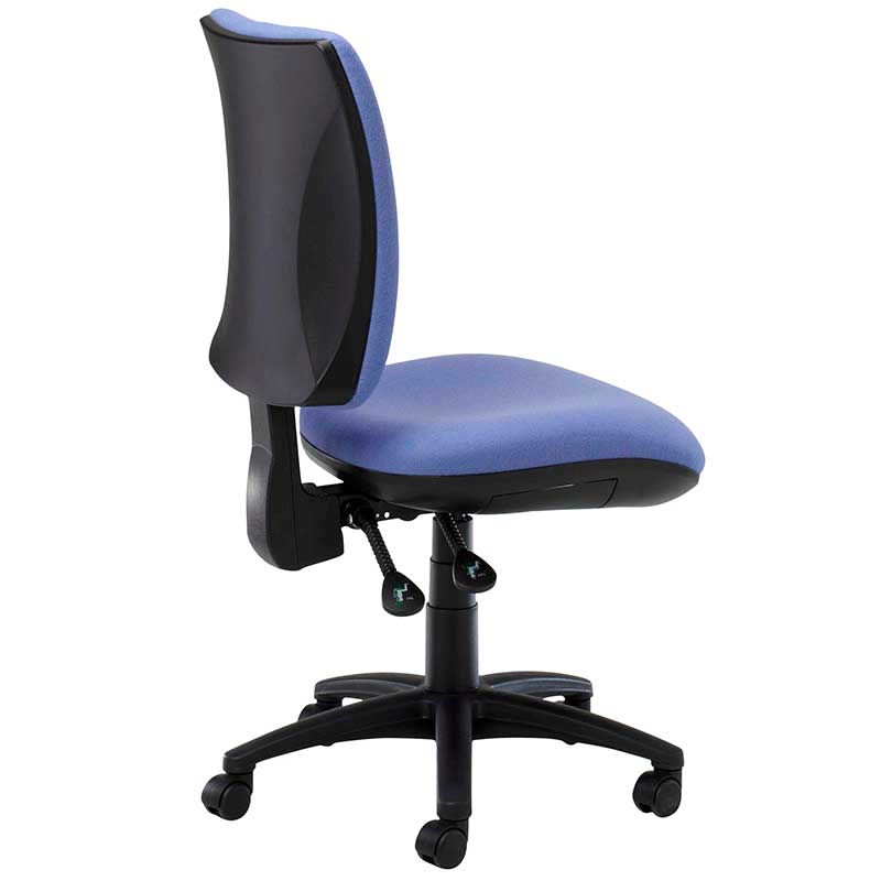 Blue desk chair with black swivel base